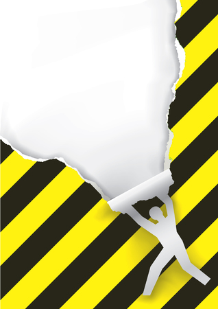 dangerous man: Promotion man ripped paper. Male silhouette ripped yellow and black striped paper background with place for your text or image.