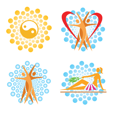sauna: Sauna spa icons. Set of wellness, sauna, spa, icons on the circle abstract background.