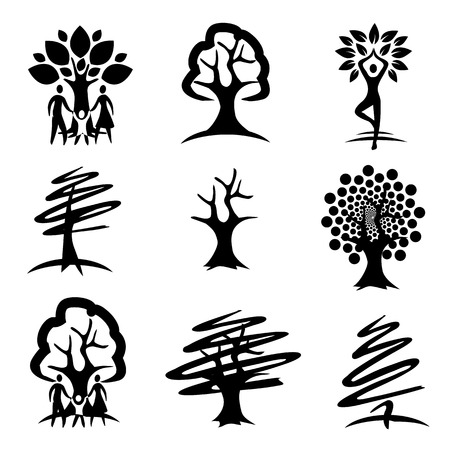 People and trees black icons. Nine black symbols of trees and people with trees.