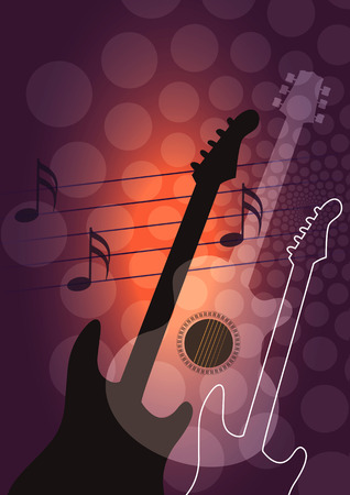 music book: Guitar music background. Dark background with acoustic and ellectrical guitars. Vector available.