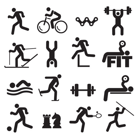 Sport fitness icons. Black Icons with sport, fitness and healthy lifestyle activities. Vector available. Vettoriali