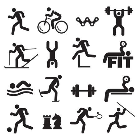 Ikony Sport fitness. Czarne Ikony ze sportu, fitness i zdrowego stylu życia. Działań Wektor dostępne.