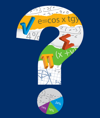 mathematician: Math question mark. Mathematics symbols inside the question mark on the blue background .