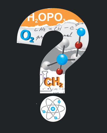 had: Chemistry symbols inside the question mark on the black background . Vector available.. Illustration