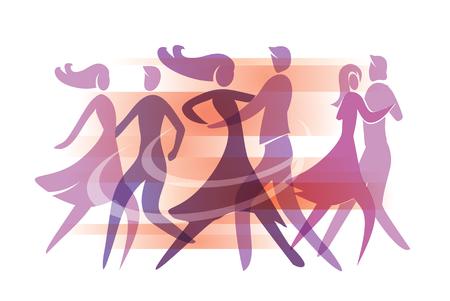 Dansende paren. Kleurrijke illustratie met silhouetten van dansende paren. Vector beschikbaar.