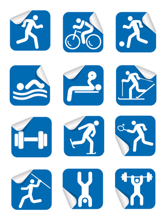 dump body: Stickers with fitness sport icons. Set of blue Square Stickers on the white background with sport symbols. Illustration