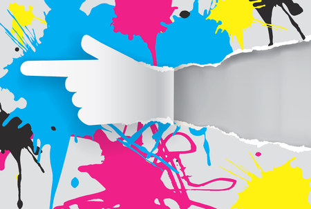 cf: Paper hand with print colors. Paper hand showing direction with print colors splatters and  with place for your text or image. Concept for presenting cf colors and color printing. Illustration