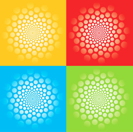 Four colorful spirals. Four colorful backgrounds with illusion of rotation movement and spirals.