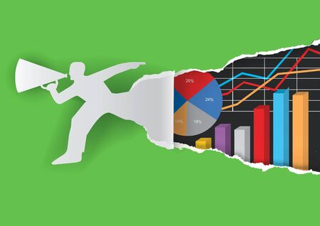accountancy: Annual report background. Paper male silhouette ripping green  paper background with charts symbolizing business success. Illustration