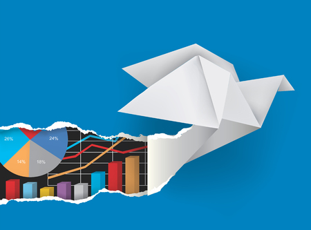 Origami bird with charts. Origami dove ripping blue paper background with charts symbolizing business success.