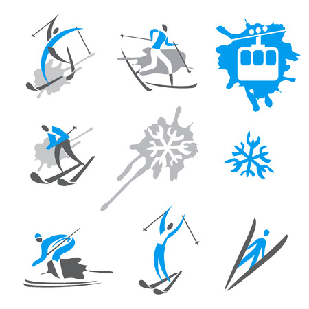 Skier expressive icons. Expressive Icons and symbols of winter sport activities. Vector available.