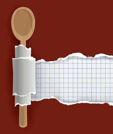 wooden spoon: Confectionery Recipe Background. Ripped brown paper with bottom layer for your image or text, with wooden spoon.