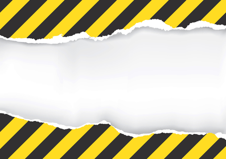 dangerous construction: Ripped Paper With Construction Sign. Illustration of ripped paper with construction sign with place for your image or text.