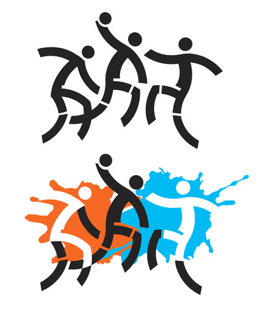 terrain de handball: joueurs de handball. Illustration de Trois joueurs de handball stylisés.