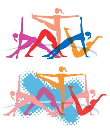 gimnasia aerobica: ejercicios aeróbicos fitness. Cinco mujeres que ejercen el yoga y aeróbicos.