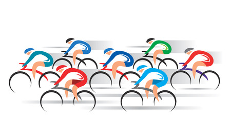 Bicycle Road Racers. Group of racing cyclists.