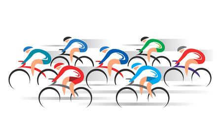 ciclismo: Bicicletas en los corredores de carretera. Grupo de ciclistas de carreras. Vectores