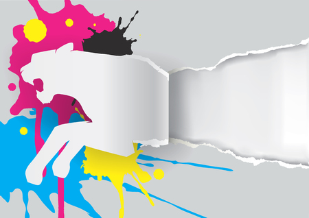 rapacity: Paper tiger ripping paper. Paper tiger silhouette  ripping paper with print colors with place for your text or image. Concept for presenting of color printing. available.