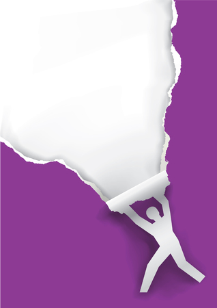 torn: Man ripping violet paper. Male silhouette ripped violet paper background with place for your text or image.available. Illustration