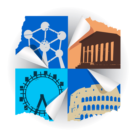 monuments: European historical monuments.  Collage of silhouettes of  famous European buildings. Illustration