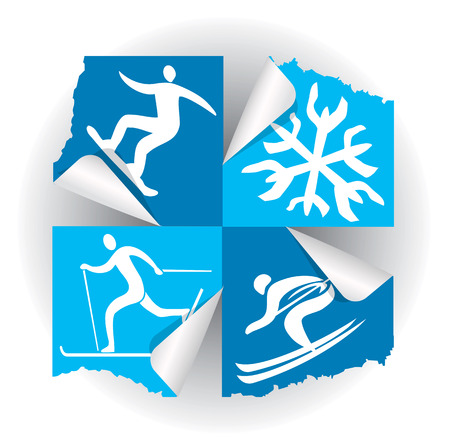 Winter sport icons stickers. Icons of winter sport activities on the stickers. Ilustração