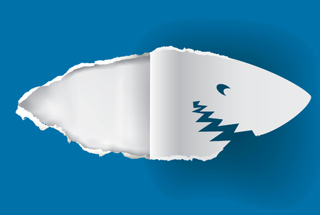 head paper: Shark head paper silhouette. Shark paper silhouette ripping blue paper background with place for your image or text.