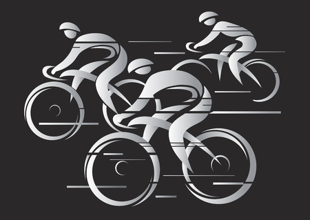 Cycling race. Illustration of cycling race on the black background.