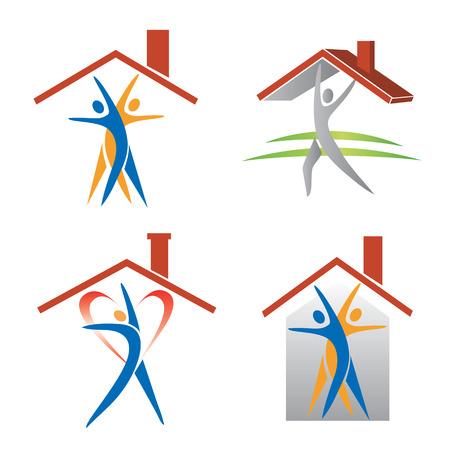 People and roof icons. Ilustração Vetorial