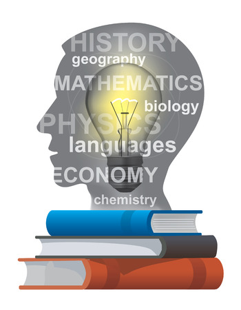 Stylized male Head silhouette with light bulb, school subjects and books. Vector available. Ilustracja