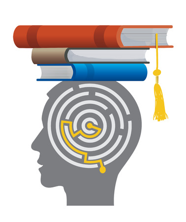 mortarboard: Graduate With Books And Maze. Stylized male head silhouette with maze and with books on the head symbolizing mortarboard.