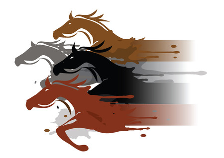Vier het lopen paarden Vier gestileerde lopende paarden. Kleurrijke illustratie nagebootst aquarellen schilderij.