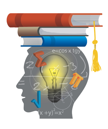 student with books: Student of math. Stylized male head silhouette with math symbols and with books on the head symbolizing mortarboard.