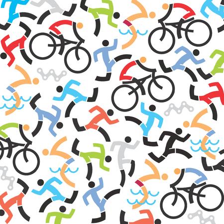 swimmer's: Triathlon icons background. Background with icons of triathlon athletes, swimmers, cyclists, runner.