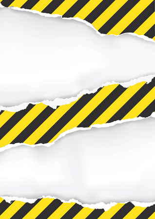 Ripped Paper With Construction Sign.  Illustration of ripped paper with construction sign with place for your image or text.