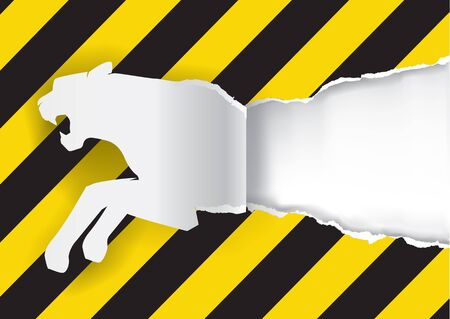 uncovering: Paper Tiger Construction Sign Background.  Paper silhouette of tiger ripping paper background with construction sign with place for your text or image.