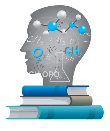 pedagogy: Student of chemistry.  Male head silhouette with chemistry symbols and formulas.