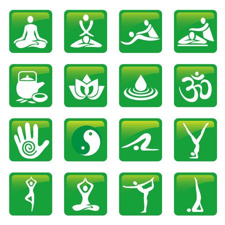 masajes relajacion: Yoga botones de masaje spa. Conjunto de masaje y spa de yoga iconos verdes. Vector disponible.