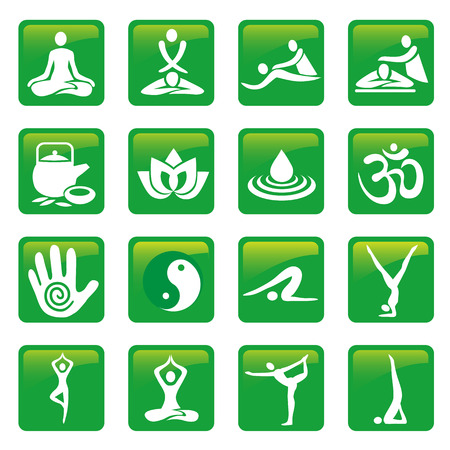massage: Yoga spa massage buttons. Set of green yoga massage and spa icons. Vector available. Illustration