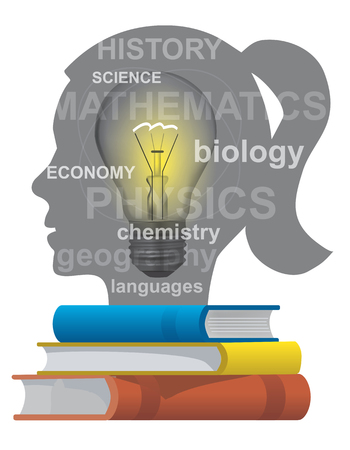 pedagogy: Girl student textbooks concept. Stylized female Head silhouette with light bulb and books. Vector available..