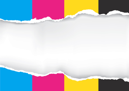Ripped paper with print colors. Ripped paper with place for your image or text. Concept for presenting color printing. Vector available.