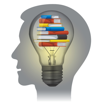 Student textbooks education concept. Stylized male Head silhouette with light bulb and books. Vector available..