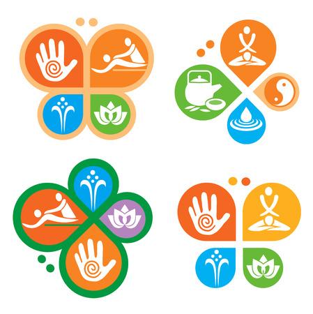 symbol sport: Spa-Massage-Symbole. Bunte Massage und Spa-Icons in der Form eines Schmetterlings platziert. Vector verfügbar. Illustration