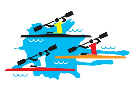 competitors: Kayaking competition.  Stylized illustration of three kayaking competitors. Vector available.