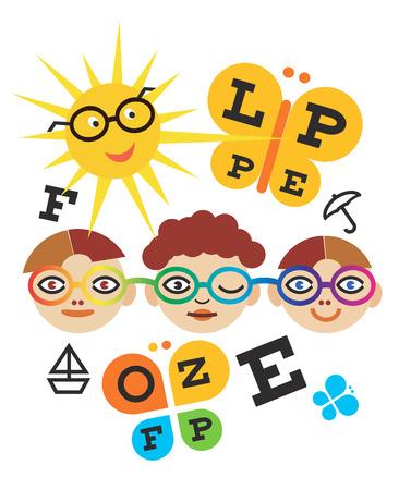 optometry: Children optometry test. Three children testing eyesight using eye chart.Vector available.