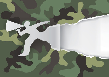 advertises: Man with megaphone camouflage background. Man advertises or sells shouts in a megaphone on the camouflage background. Template for a original advertisement. Vector illustration