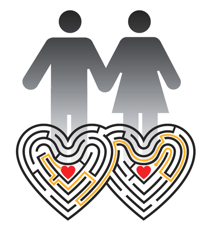 finding: Lovers maze. Couple  pictogram and labyrinth in the shape of two linked hearts.  Vector available. Illustration