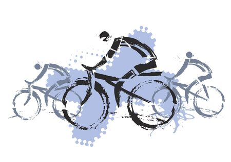 people in action: Cyclists grunge stylized. Three grunge stylized cyclists. Illustration imitating drawing brush. Vector available. Illustration