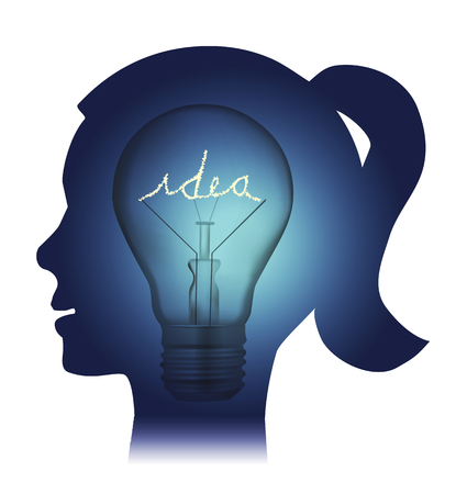 luminance: Young woman bulb idea. Young woman stylized head silhouette with bulb and inscription idea. Vector available.