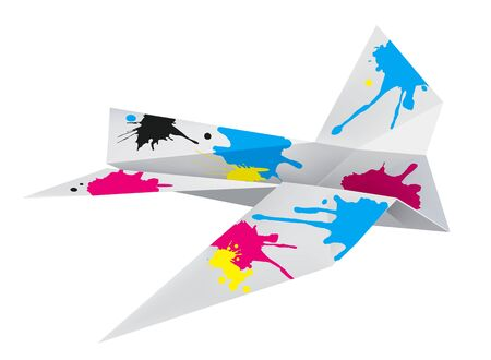 Origami airplane with print colors. Illustration of folded paper airplane with splashes of ink. Concept for presenting color printing press. Vector available.