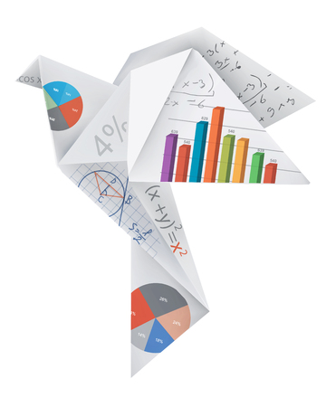 polygraph: Origami airplane with print colors. Illustration of folded paper airplane with splashes of ink. Concept for presenting color printing press. Vector available.
